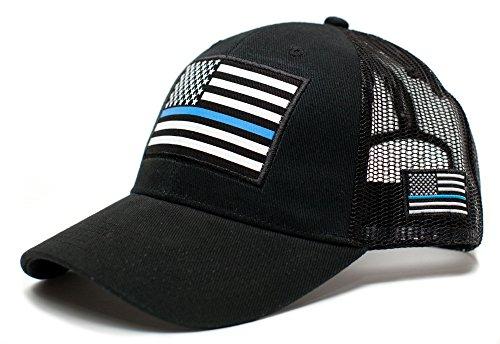 - Posse Comitatus Thin Blue Line USA Flag Unisex Adult One-Size Cap Hat Black