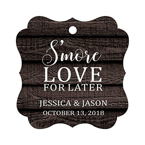 Darling Souvenir S'More Love For Later Tag Custom Favor Fancy Hang Tags -Dark Wood-100 Tags]()