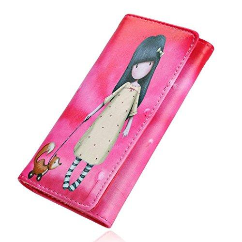 Cravog Damen Portemonnaie Lang Geldbörse Geldtasche Kartenhalter Portmonee Rose Rot QOp7aTl6f