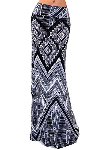 VIVICASTLE Women's Colorful Printed Fold Over Waist Long Maxi Skirt (X-Large, D71, ()