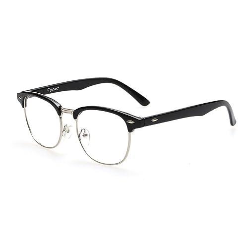 Cyxus Blue Light Filter [Semi-Rimless ] Computer Glasses, Anti Eye Fatigue Clear Lens Eyewear, Unisex(Men/Women)