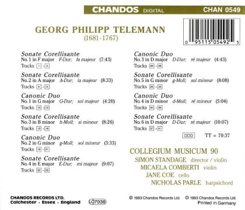Telemann: Sonatas Corellisantes & Canonic Duos
