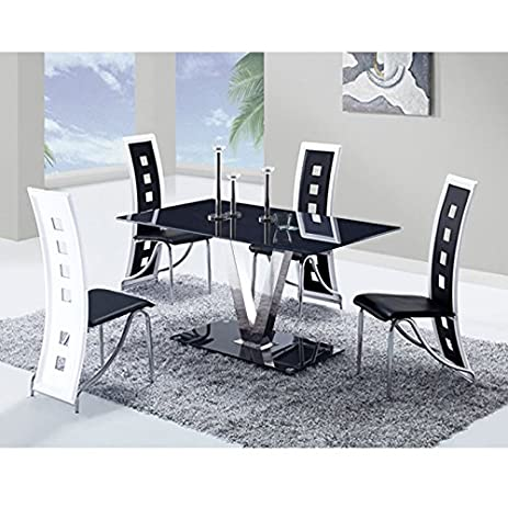 Amazon.com - Global Furniture Dining Table with Black/Stainless ...