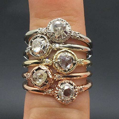 Cut Rose Illusion (14K Rose Gold Old Rose Cut Diamond Victorian Engagement Ring - 14K Vintage Inspired Rose Cut Diamond Ring - Antique Rose Cut Promise Ring)