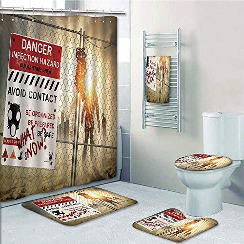 Bathroom 5 Piece Set Shower Curtain 3D Print Customized,Zombie Decor,Dead Man Walking Dark Danger Scary Scene Fiction Halloween Infection Picture,Multicolor,Bath Mat,Bathroom Carpet - Set Dead Walking Poker