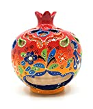 Handmade Traditional Turkish Pottery Pomegranate Shaped Candle or Incense Burner (Red-Orange, Medium 5'')