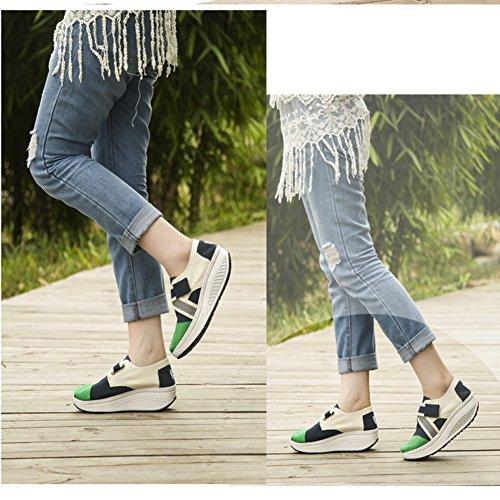 Baskets Femme Toile Glisser Sur La Pente Avec Épissage Des Chaussures Simples Éveil Par Btrada Vert