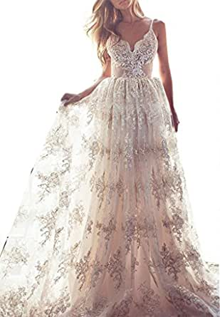 Fanciest Women's Spaghetti Straps Lace Wedding Dresses For Bride 2017 Backless Bridal Gowns White US2