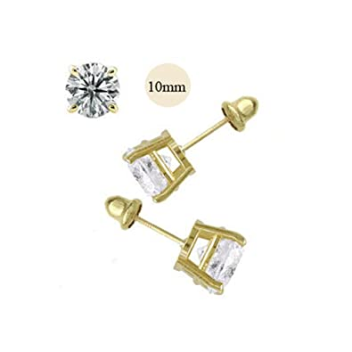 Image Unavailable. Image not available for. Color  14K Yellow Gold 10mm  Round Simulated Diamond Stud Earring Set on Prong Setting e4c8491d345b