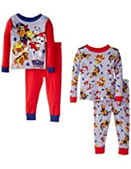 Paw Patrol Little Boys' Rescue Coming 4-Piece Pajama Set, Red, 4T