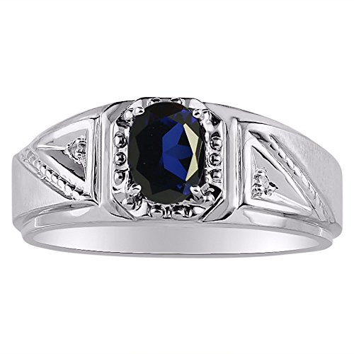 (Genuine Diamond & Natural Oval Blue Sapphire Ring set in Sterling Silver .925)