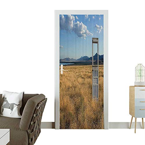 Door Sticker Wall Decals an Old Door Standing Ale in Grassy Field with Mountains Summer Sky in The Back Easy to Peel and StickW35.4 x H78.7 INCH ()