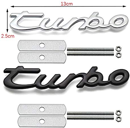 Chrome 1x Grille TURBO Emblem Badge Sticker Replacement For Universal Cars