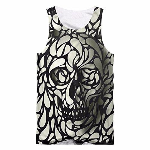 Honiee Mens Tank Top Casual 3D Printed Patterns Graphics Tees Sleeveless T-Shirt (Skull, US XL=4XL)