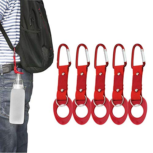 LERTREE 5 Pack Water Bottle Holder Hook Clip with Key Ring Aluminum Carabiner Belt Backpack Hanger (Red)