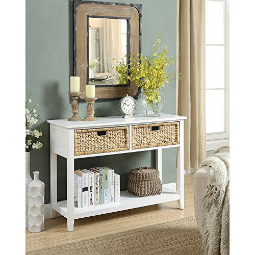 Major-Q Console Table with 2 Drawers and Open Storage for Dining / Kitchen / Living Room, Rectangular, Wood Rustic and White Finish, 44 x 16 x 28