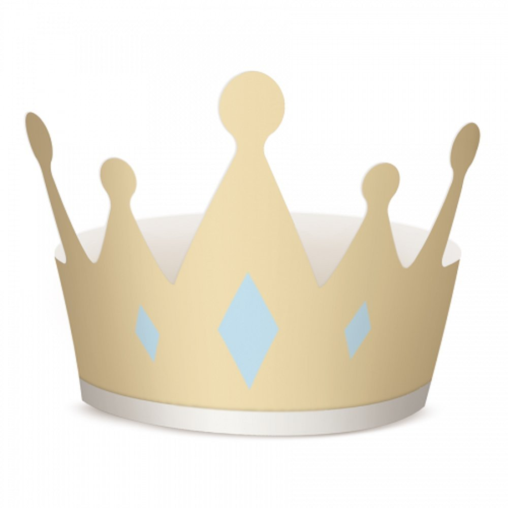 Prince Birthday Party Crown - 8 Pack Baby Shower, First Birthday Party, It's a Boy, Party Supplies, Paper Card W 48 x H 13.5 cm Approx. Gold Crown