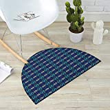 Geometric Semicircular Cushion Circles with Dots Pattern Blue Toned Illustration Abstract Shapes Composition Entry Door Mat H 47.2'' xD 70.8'' Multicolor