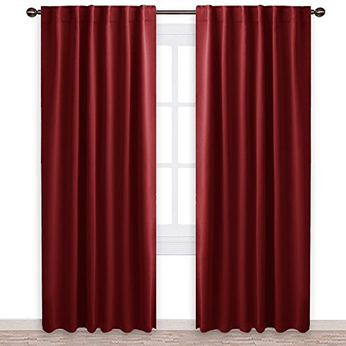 NICETOWN Burgundy Blackout Window Draperies Curtains - (Burgundy Red Color) 52