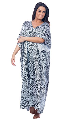 Up2date Fashion Satin Caftan in Classic Animal Print, One Size, Style Caf-31C2 Black (Satin Print Nightgown)