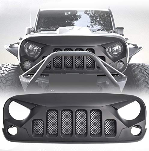 Skull Grille - DIYTuning Angry Skull Grill 6 Holes Front Grille Mesh for Jeep Wrangler JK JKU Unlimited Rubicon Sahara X Off Road Sport Exterior Accessories Parts 2007-2018