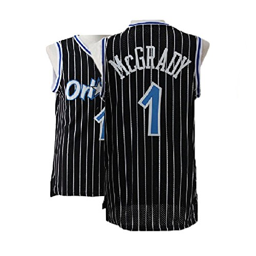 Kedelac Men's McGrady Retro Jerseys Tracy Black Athletics Jersey Orlando Basketball #1 Jersey (XL)