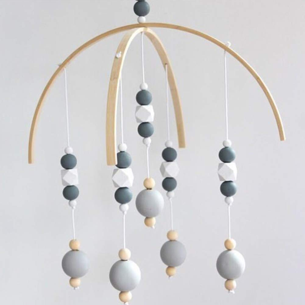 Wooden Beads Wind Chimes Baby Mobile Nursery Cot Mobile Crib Mobile Baby Musical Crib Mobile Rotating Rattle Cot Toys Hanging Beads Ornaments for Home Decoration