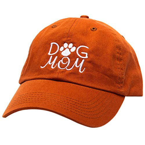 Beanie Bliss Dog Mom Baseball Cap - Soft Embroidered Cotton Caps - Orange