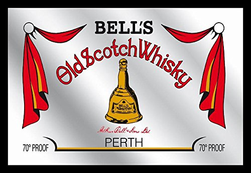 Empireposter Bell's Old Scotch Whisky Perth Poster Dimensions: Approximately 30 x 20 cm Printed Mirror with Black Plastic Frame with Wood Effect (Flasche Frame)