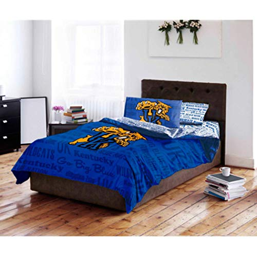 (4 Piece NCAA University of Kentucky Wildcats Comforter Twin Set, Sports Patterned Bedding, Featuring Team Logo, Fan Merchandise, Team Spirit, College Basket Ball Themed, Blue, Yellow, For Unisex)