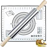 Rolling Pin and Silicone Pastry Mat Set,Stainless Steel Rolling Pin for Baking Dough,Fondant,Dumpling,Pizza,Pie,Pastries,Pasta and Cookies
