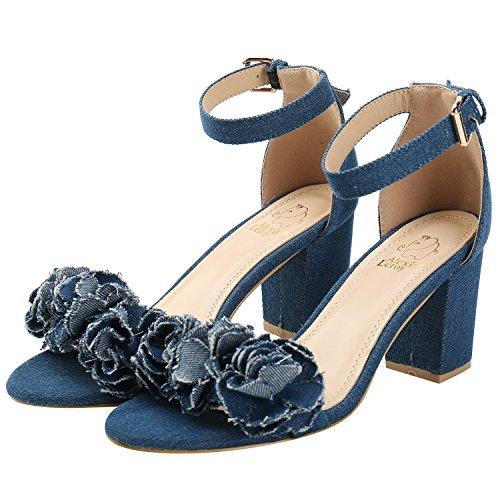 Alexis Leroy Women's Floral Appliques Buckle Ankle Strap Sandals Dark Blue 0rN22