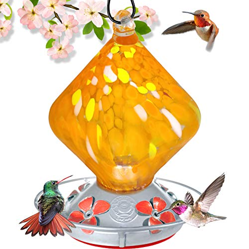 (Grateful Gnome - Hummingbird Feeder - Hand Blown Glass - Orange Sugar Cube - 18 Fluid Ounces)