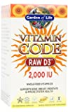 Garden of Life Raw D3 Supplement - Vitamin Code Whole Food Vitamin D3 2000 IU, Dairy and Gluten Free, Vegetarian, 120 Capsules