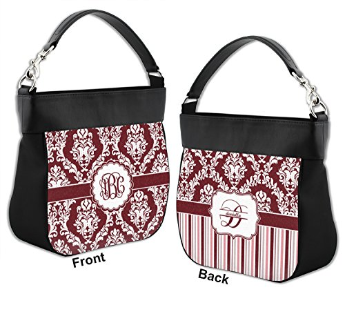 White Personalized Front amp; Back Purse Trim Genuine Leather Maroon Hobo amp; w qZ5w8B5P