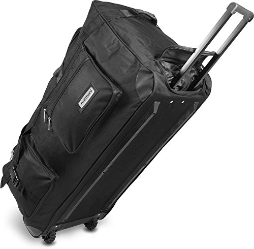 Leichte und Robuste Sport und Reisetasche mit tollem Design und Rollen Farbe Schwarz / 100 Liter