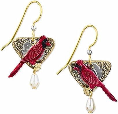 Red bird dangle earrings