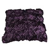 VivReal® Purple Satin Rose Flower Square Pillow Cushion Pillowcase Case Cover