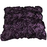 Attractive VivReal Purple Satin Rose Flower Square Pillow Cushion Pillowcase Case Cover