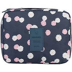 Zhenxinmei Portable Makeup Bag Multi-function Oxford Cloth Cosmetic Bag Beautiful Durable Toiletry Case Travel Organizer Kit Fashion Double Zippers Makeup Pouch Printed Wash Bag (deep blue flowers)