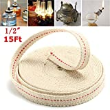 CoCocina 1/2 Inch Flat Cotton Wick 15 Foot Oil Lamps and Lanterns Cotton Wick 4.5M Length