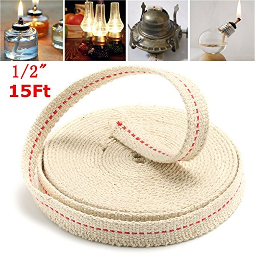 (CoCocina 1/2 Inch Flat Cotton Wick 15 Foot Oil Lamps and Lanterns Cotton Wick 4.5M Length)