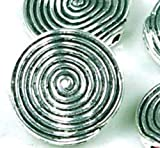 10 Large Silver Pewter spire Disc Beads 18mm