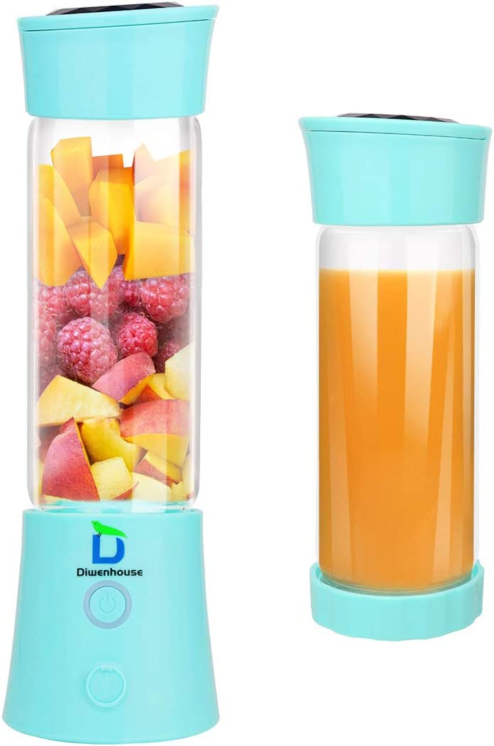 Diwenhouse Portable Blender - Personal Size Blender for Shakes and Smoothies, USB Rechargeable Electric Mini Juice Cup Blender for Travel, 16oz, Blue