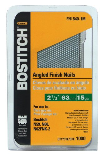 BOSTITCH FN1540-1M 2-1/2-Inch 15-Gauge FN Style Angled Finish Nails,
