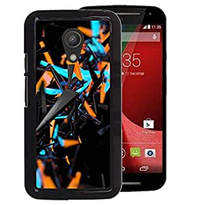 A-type Arte & diseño plástico duro Fundas Cover Cubre Hard Case Cover para Motorola G 2ND GEN II (Blue Orange Abstract 3 D Black Pattern)