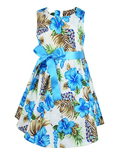 PrinceSasa Kids Summer Clothes Girls Summer Dresses for Child, Blue Flower 6-7 Years(Size -
