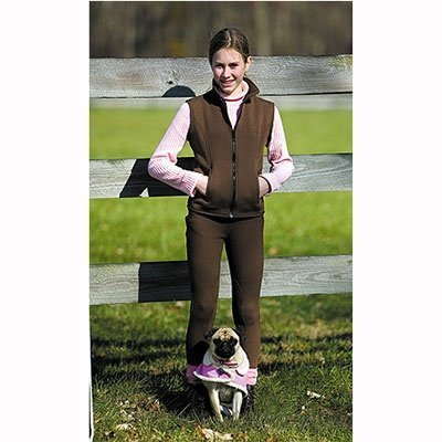 TuffRider Kid's Unifleece Pull-On Stretch Fleece Knee Patch Breeches, Navy, 10