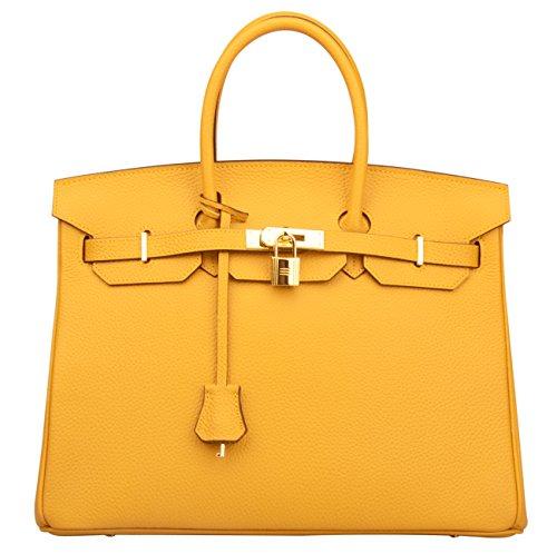 Ainifeel Women's Padlock Handbags with Golden Hardware (35 cm, Dark yellow) (Handbag Designer Yellow)