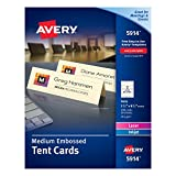 Avery Medium Embossed Ivory Tent Cards, Laser/Inkjet Printers, 2-1/2''x8-1/2'', Pack of 100 (5914)